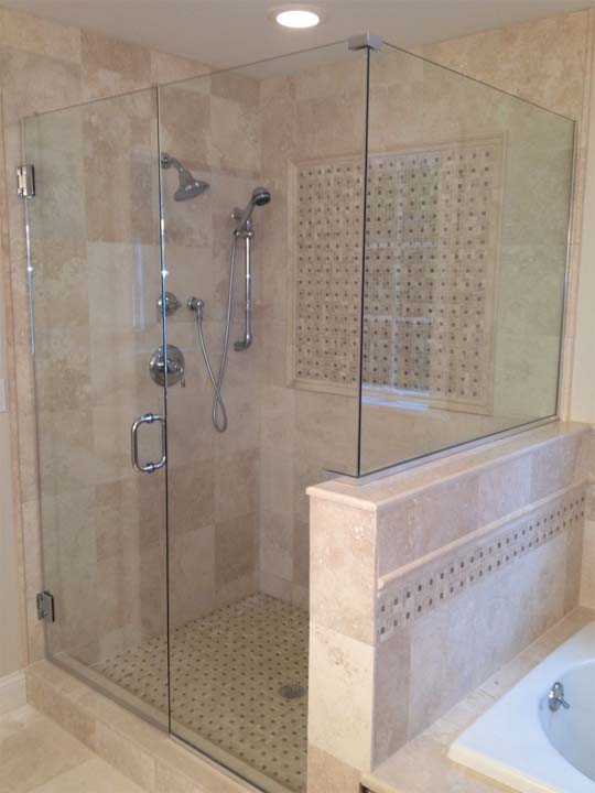 frameless corner shower with channel